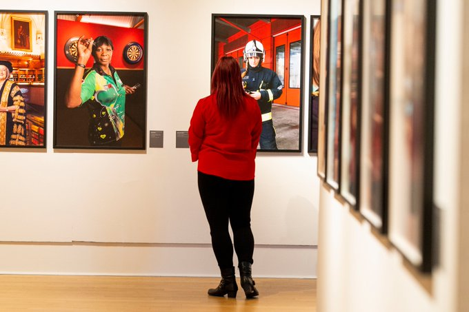 Photographic portrait of Dany Cotton on display at New Walk Museum and Art Gallery.