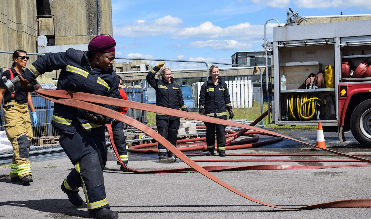 Firefighter hose-handling training