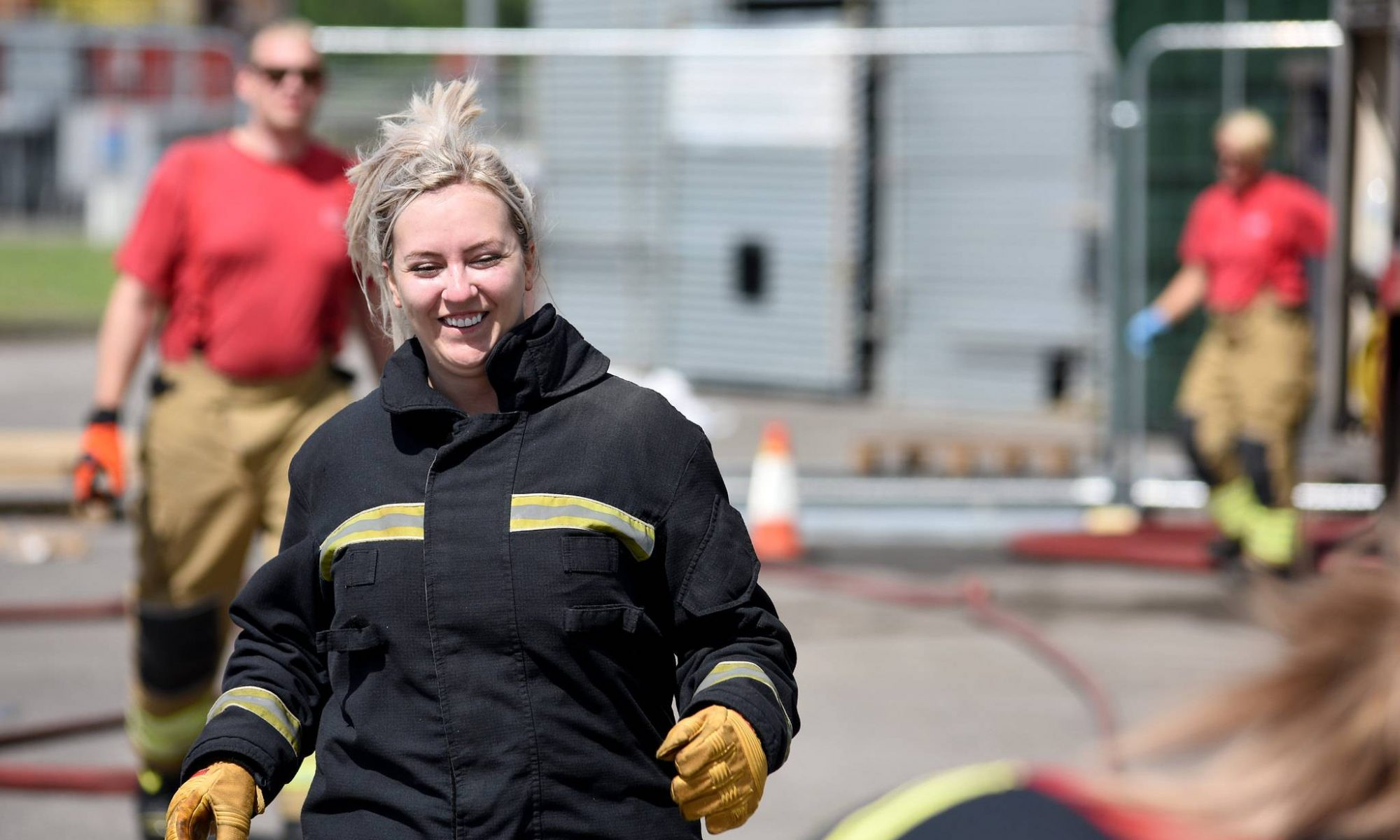 Woman at a firefighting workshop