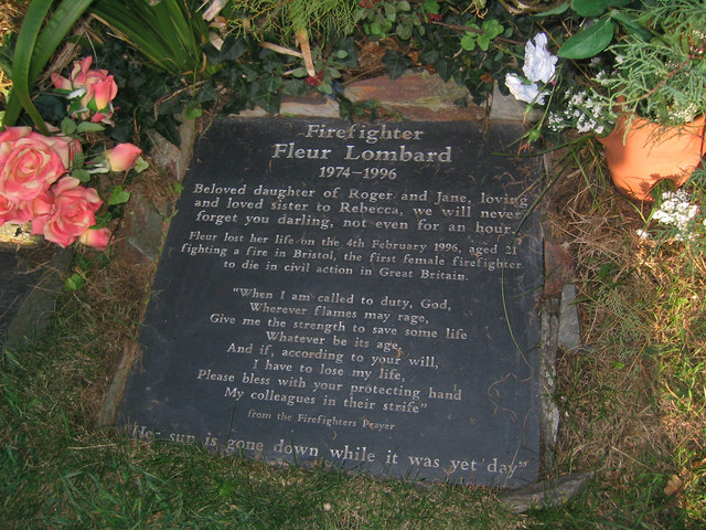 The memorial stone to Firefighter Fleur Lombard
